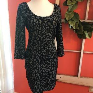 Black leopard print mini dress